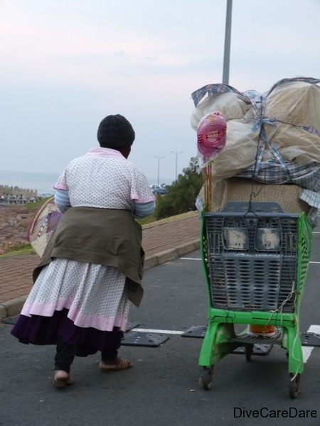 African Dive Adventures, African Women with big trolley, Margate, South Africa